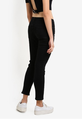 Something Borrowed black Patch Skinny Jeans B5050ZZ0B7A46EGS_1