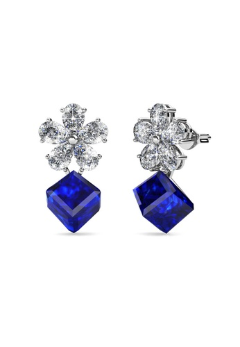 Her Jewellery blue and silver Square Coral Earrings (Blue) - Made with premium grade crystals from Austria C23C4ACCF55146GS_1