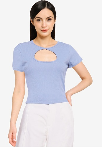 Cotton On blue Camilla Cut Out Short Sleeve Top 087DCAAA363E03GS_1