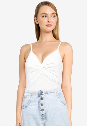 Miss Selfridge white Petite White Twist Cami Bodysuit 094A5AA2142360GS_1
