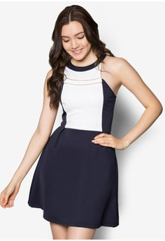 Cut In Colourblock Skater Dress