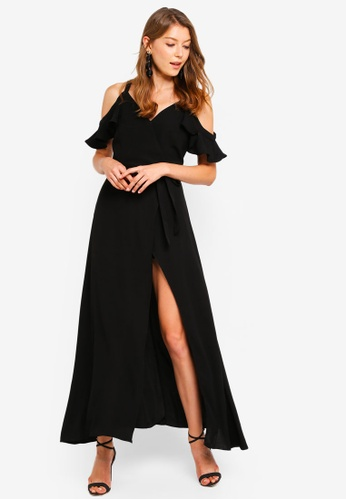 Preen & Proper black Front-Wrap Maxi Dress A33DFAA1CC5751GS_1