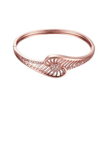 Glamorousky white Elegant Plated Rose Gold Geometric Openwork Bangle with Cubic Zircon 3000BACB0EDC0FGS_1