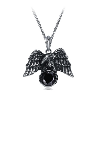 Glamorousky black Fashion Personality 316L Stainless Steel Eagle Pendant with Black Cubic Zircon and Necklace 7AFB4AC3D709E2GS_1