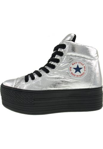 Maxstar 銀色 新款韩国鞋C50-Taller-TC時尚皮革布混合女銀色 US Women Size MA345SH46GVHTW_1