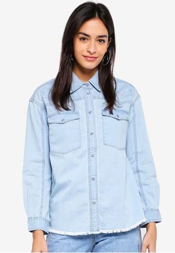 ESPRIT blue Denim Long Sleeve Shirt 022BDAA220D908GS_1