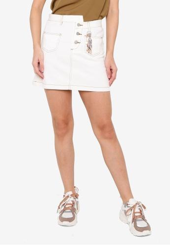 Hopeshow white Contrast Stitch A-Line Denim Mini Skirt ABA50AAF18A494GS_1