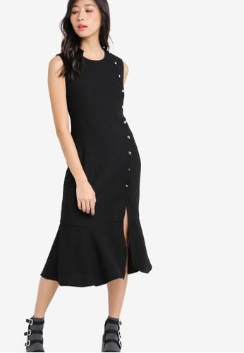 側排鈕荷葉下擺無袖zalora 泳衣連身裙, 服飾, 洋裝