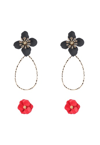 Red's Revenge black and red 2-in-1 Bright Blooms Earrings Set 3D997AC365E2F9GS_1