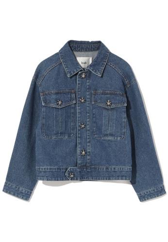 b+ab blue Jewelled button denim jacket 829DEAA2DD01F5GS_1