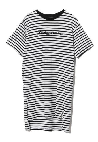 MUSIUM DIV white Bold logo embroidered stripe T-shirt dress 4241DAA896B453GS_1