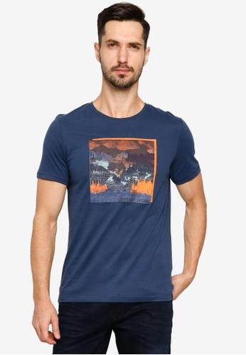 BLEND blue Graphic Print Crew Neck T-Shirt 48FF5AA130CBD9GS_1