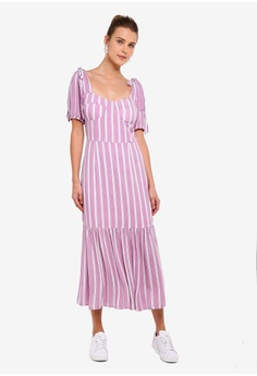 55281d505a221 15% OFF Glamorous Pink White Stripe Woven Dress S$ 94.90 NOW S$ 80.90 Sizes  XS S M L