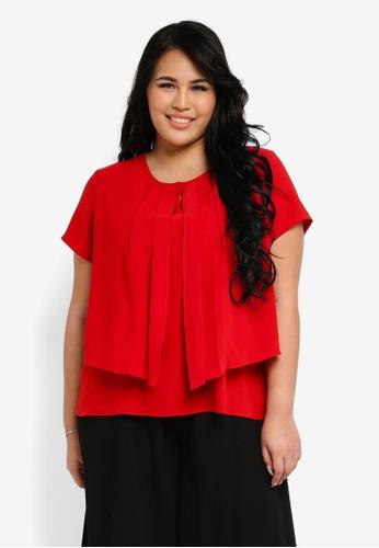 Ex'otico red Plus Size Short Sleeve Layered Blouse EX373AA0SL8FMY_1