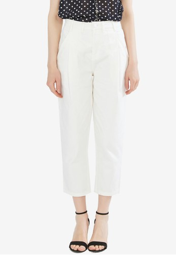 Hopeshow white Mid Waist Slim Fit Pants 3AE38AA755A4B8GS_1