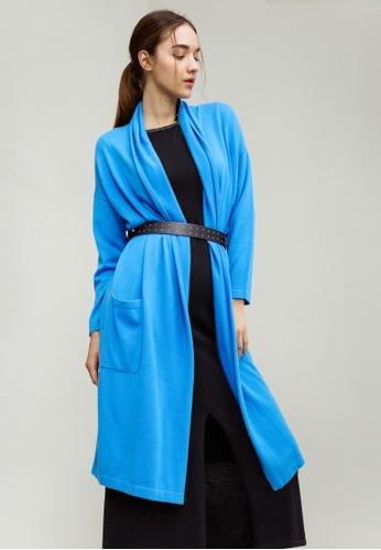 KLAPS blue Cashmere-blend Long Cardigan 1E47FAA0D519F5GS_1