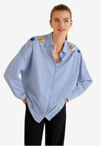 MANGO blue Beaded Stripped Shirt 8006EAA1AE757CGS_1