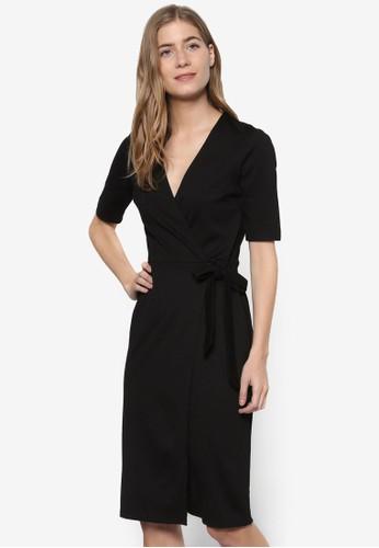 Ponteesprit 見工 裹飾V 領繫帶連身裙, 服飾, 洋裝