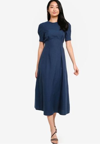 ZALORA BASICS 海軍藍色 Puff Sleeve Midi Dress 35E7CAA3D1B36FGS_1