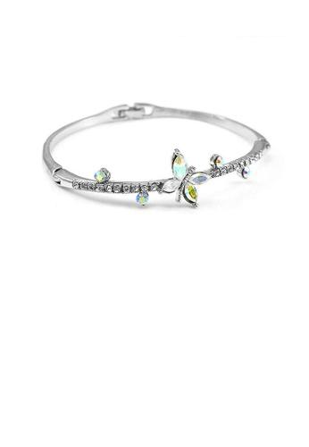 Glamorousky silver Elegant Bangle with Silver Austrian Element Crystal DF590AC5B25F66GS_1