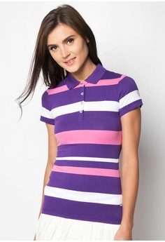 Ladies Slim Fit Stripes Polo Tee