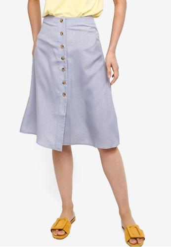 ZALORA BASICS blue Basic Button Through Midi Skirt 2FB8DAAB12591EGS_1
