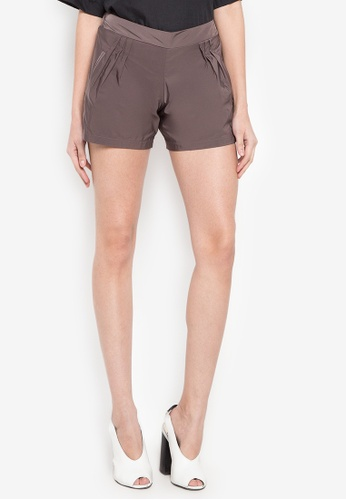 Courier brown Plain Shorts F6A42AADC98923GS_1