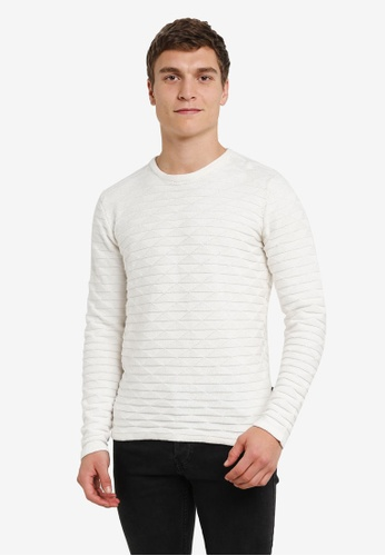 !Solid white Kameron Geo Knit Sweater SO701AA0S2V2MY_1