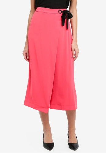 River Island pink Seb Eyelet Wrap Crop Wide Leg Trouser CEFA3AA93FD395GS_1