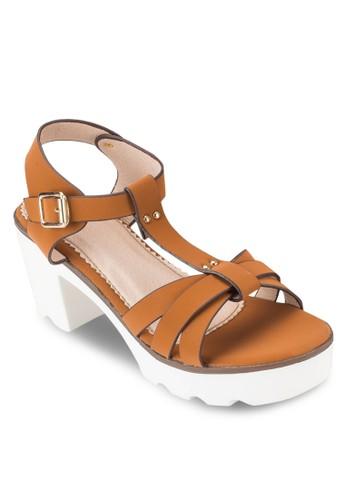 COVET T 字帶厚底粗跟esprit門市地址涼鞋, 女鞋, 鞋