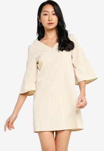 ZALORA BASICS beige Mini Shift Dress CEE09AAECCF40FGS_1