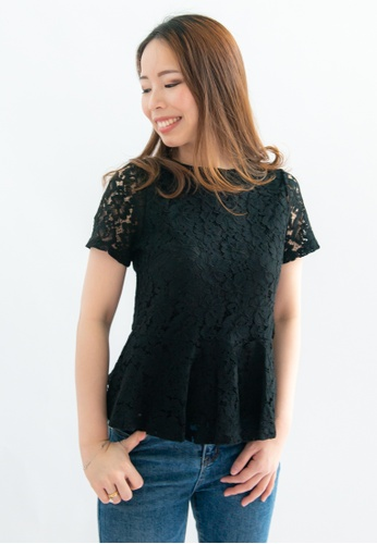 Love Knot black Amity Lace Overlay Short Sleeves Top (Black) 262C5AA472D6B2GS_1