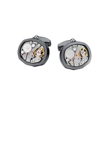 Glamorousky silver Fashion and Elegant Plated Black Mechanical Movement Cufflinks F21BCAC8AD0754GS_1