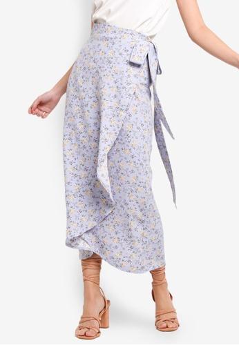 ZALORA 藍色 and 多色 Midi Wrap Skirt 1FB24AA108C34CGS_1