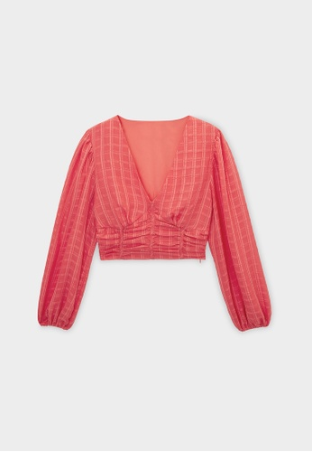 Pomelo pink Ruched Puff Sleeve Crop Blouse - Cherry Blossom DCC4DAA9715BA1GS_1