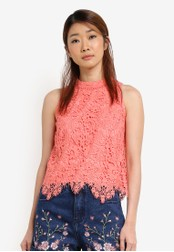Something Borrowed pink Sleeveless Cut In Lace Top 3F481AAF99A5BBGS_1