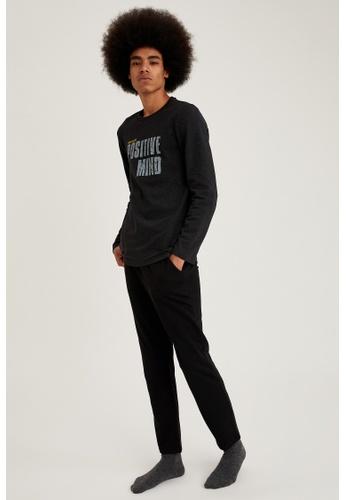 DeFacto grey Regular Fit Top & Bottom Pyjamas Set FA332AA7FDC50DGS_1