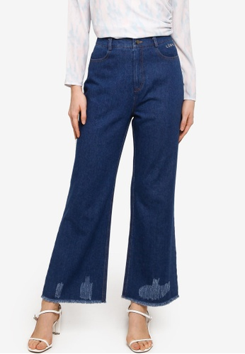 Lubna navy Denim Distressed Jeans 147FEAA6EC472DGS_1