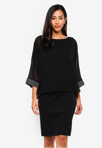 50abcbef08 Shop Wallis Black Embellished Cuff Overlayer Dress Online on ZALORA  Philippines
