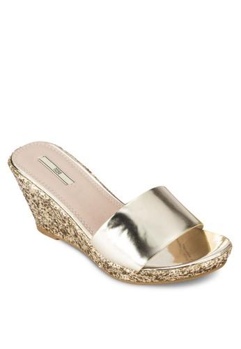金屬感寬帶楔型esprit台灣outlet跟涼鞋, 女鞋, 楔形涼鞋