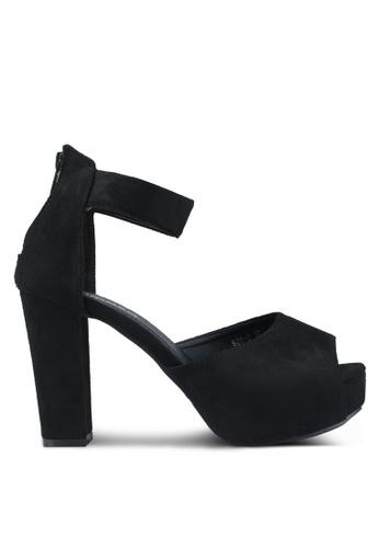 Mimosa 黑色 厚底繞踝粗跟鞋 37C65SHB3D476DGS_1