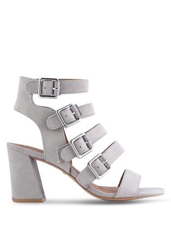 TOPSHOP grey Natasha Multi Buckle Heeled Sandals TO412SH78HOFMY_1