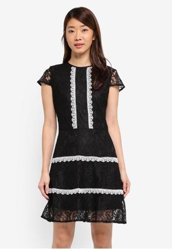 Dorothy Perkins black Black Lace Trim Skater Dress 1A0EFAA1275778GS_1