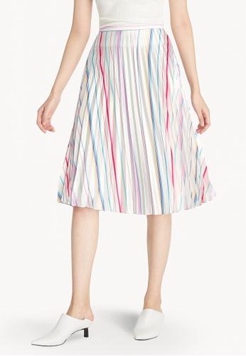 Pomelo white Multi Color Stripe Pleated Skirt - White 14BA8AA390F585GS_1