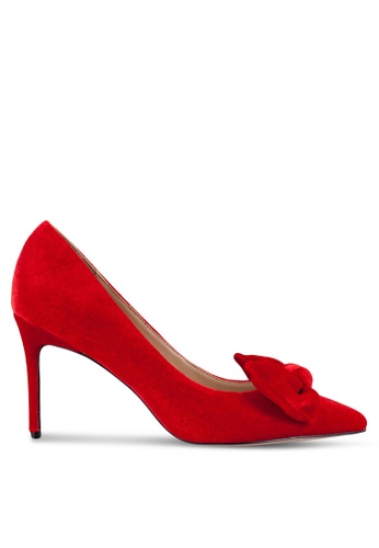 Velvet red High Heels with Bow Detail 71C16ZZ1EE5ACBGS_1