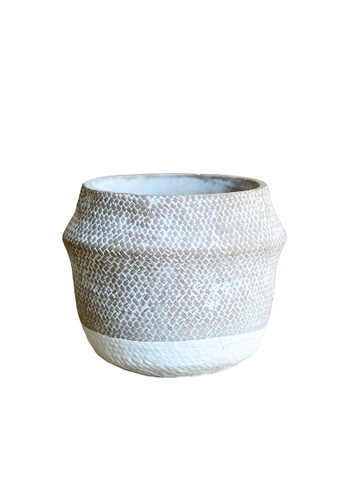 Propstation Woven Basket Pattern Ceramic Pot Planter 17cm D82BBHL5871B91GS_1