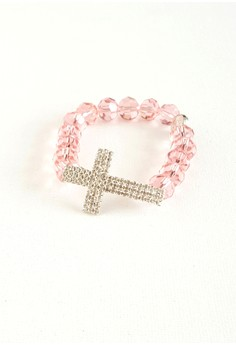 Garterized Crystals and Rhinestone Cross Rosary Bracelet