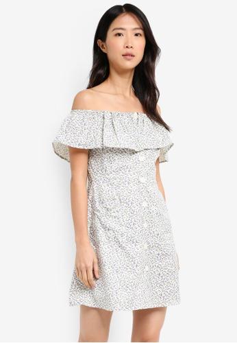 TOPSHOP white Ditsy Print Bardot Dress 203D1AAD8AF37AGS_1