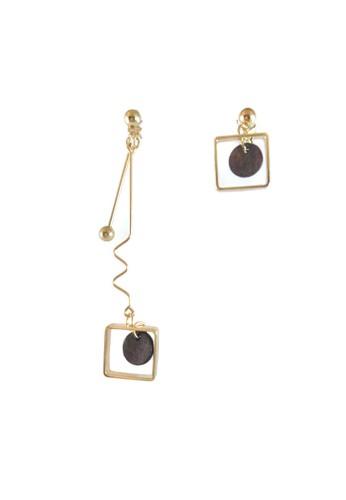 La Miina gold Raine Asymmetric Gold Earrings D1523AC89B3972GS_1