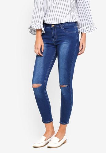 ZALORA blue Knee Rips Skinny Jeans E11BAAA283FC2CGS_1